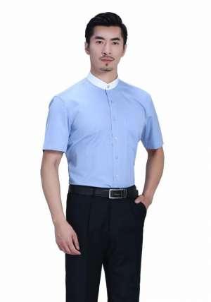 立领蓝色拼色短袖衬衫